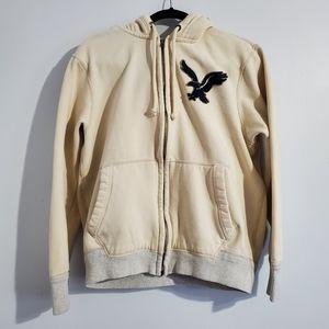 American Eagle Beige Zip Up Hoodie Sweater Size M